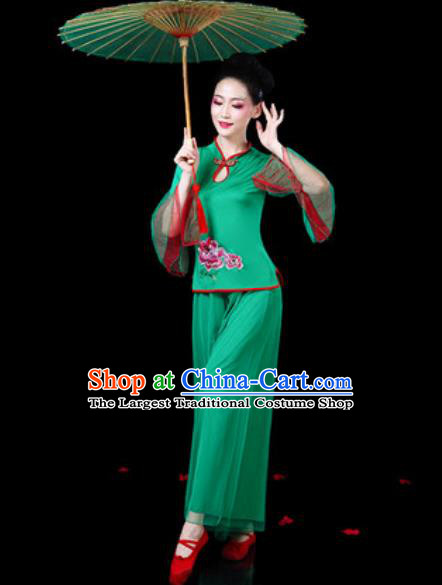 Chinese Traditional Folk Dance Costumes Fan Dance Yangko Drum Dance Green Mandarin Sleeve Clothing for Women