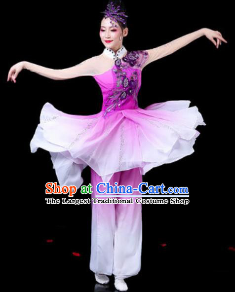 Chinese Classical Dance Costumes Traditional Umbrella Dance Purple Dress for Women