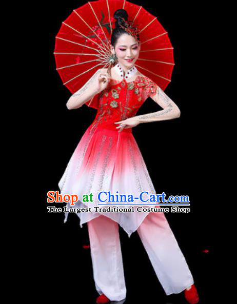 Chinese Classical Dance Costumes Traditional Umbrella Dance Red Dress for Women