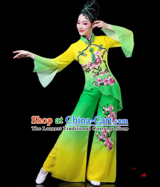 Chinese Traditional Folk Dance Yangko Costumes Fan Dance Drum Dance Green Clothing for Women
