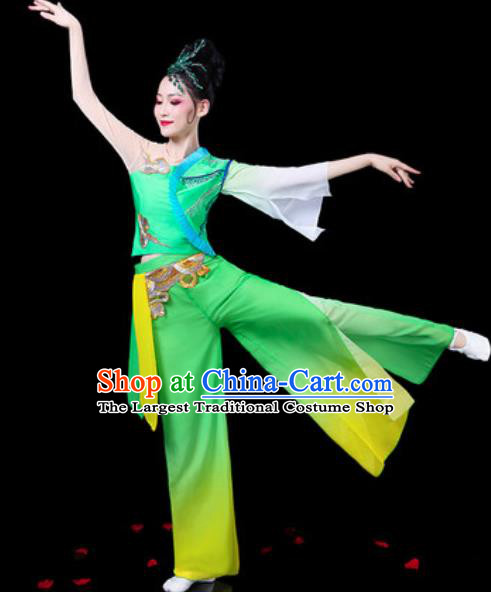 Chinese Traditional Folk Dance Yangko Dance Costumes Fan Dance Drum Dance Green Clothing for Women