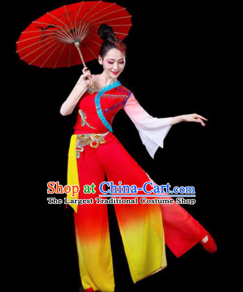 Chinese Traditional Folk Dance Yangko Dance Costumes Fan Dance Drum Dance Red Clothing for Women