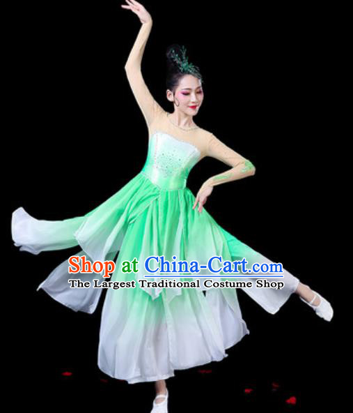 Chinese Classical Dance Costumes Traditional Umbrella Dance Green Dress for Women