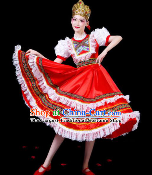 Top Grade Stage Show Chorus Costumes Group Dance Modern Dance Russia Court Red Dress for Women