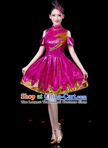 Top Grade Stage Show Chorus Costumes Group Dance Modern Dance Rosy Bubble Dress for Women