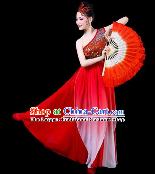 Chinese Classical Fan Dance Costumes Traditional Chorus Umbrella Dance Red Dress for Women