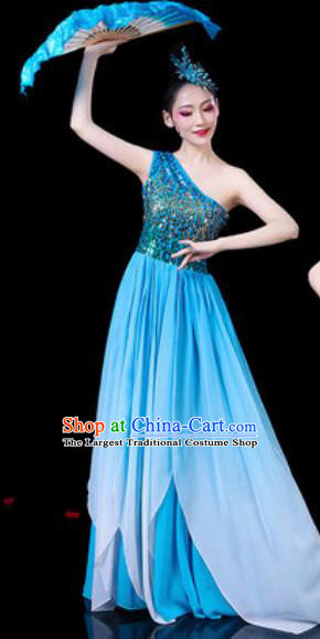Chinese Classical Fan Dance Costumes Traditional Chorus Umbrella Dance Blue Dress for Women