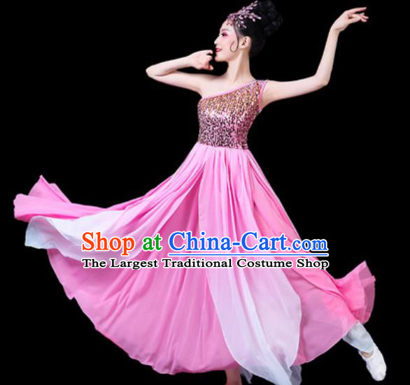 Chinese Classical Fan Dance Costumes Traditional Chorus Umbrella Dance Pink Dress for Women