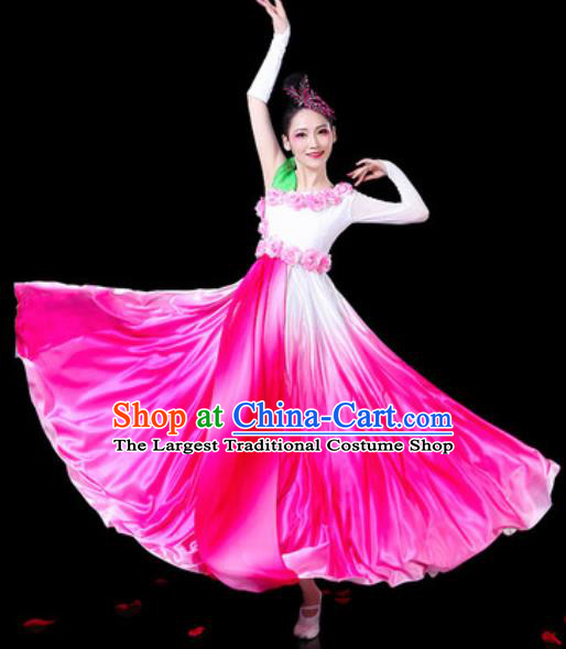 Chinese Classical Fan Dance Pink Dress Traditional Chorus Umbrella Dance Costumes for Women