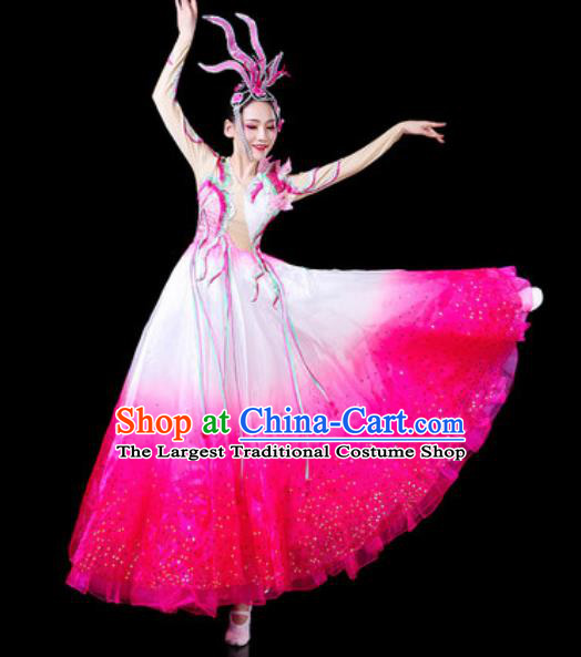 Top Grade Stage Show Chorus Costumes Modern Dance Group Dance Rosy Dress for Women
