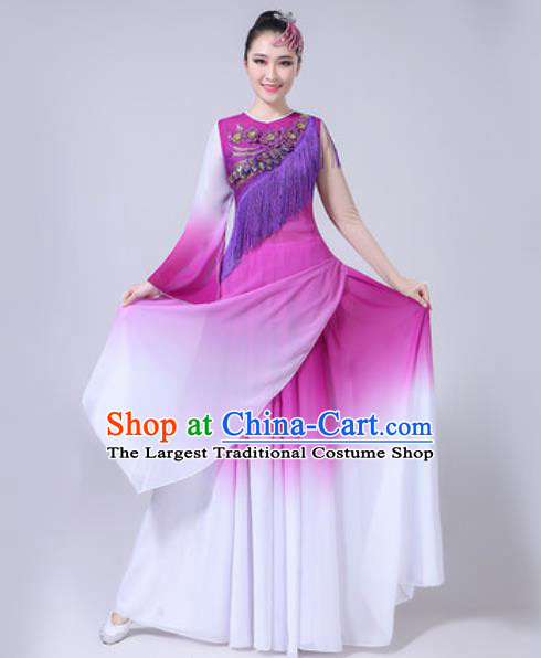 Top Grade Stage Show Chorus Costumes Modern Dance Embroidered Peony Purple Long Dress for Women