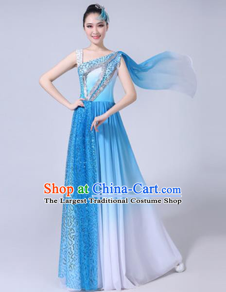 Top Grade Stage Show Costumes Modern Dance Chorus Group Blue Long Dress for Women