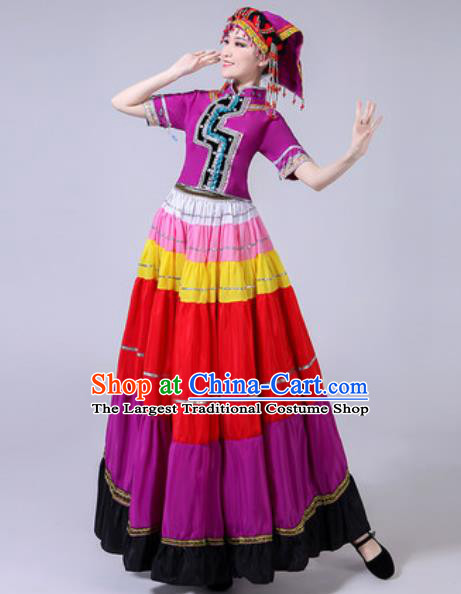 Chinese Ethnic Costumes Traditional Yi Nationality Folk Dance Pleated Dress for Women
