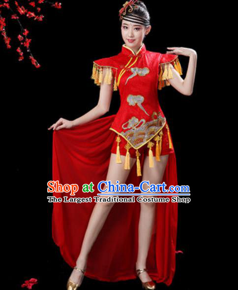 Chinese Traditional Folk Dance Yangko Dance Costumes Drum Dance Red Clothing for Women