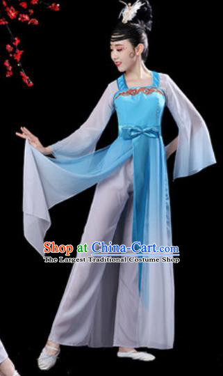 Chinese Classical Dance Umbrella Dance Blue Dress Traditional Chorus Costumes for Women