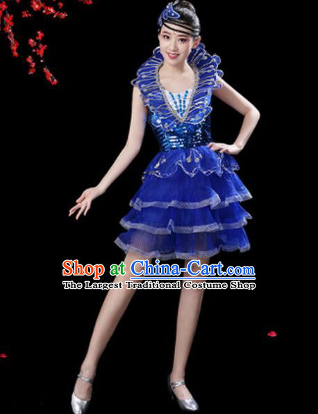Top Grade Stage Show Costumes Modern Dance Chorus Royalblue Bubble Short Dress for Women