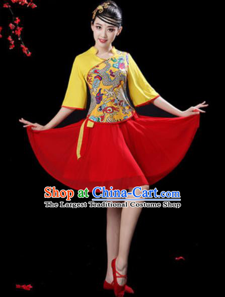 Chinese Folk Dance Drum Dance Costumes Traditional Fan Dance Yangko Red Short Dress for Women