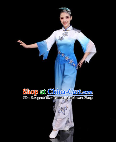 Traditional Chinese Folk Dance Drum Dance Costumes Fan Dance Yangko Blue Clothing for Women