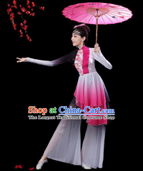 Chinese Classical Dance Umbrella Dance Dress Traditional Group Dance Chorus Costumes for Women