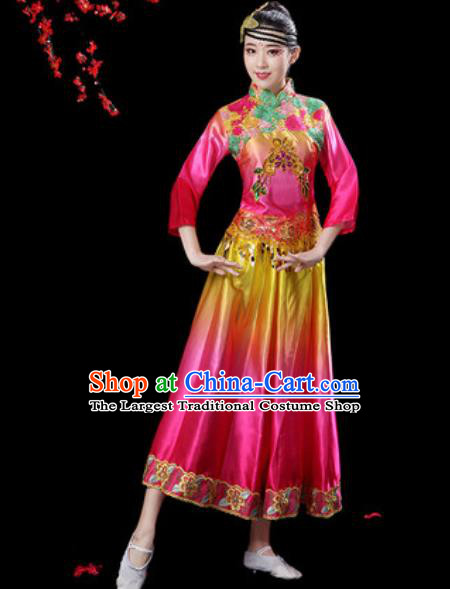 Chinese Classical Dance Umbrella Dance Rosy Dress Traditional Group Dance Chorus Costumes for Women
