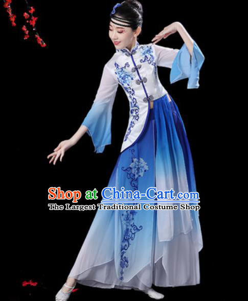 Chinese Classical Dance Umbrella Dance Blue Dress Traditional Group Dance Chorus Costumes for Women