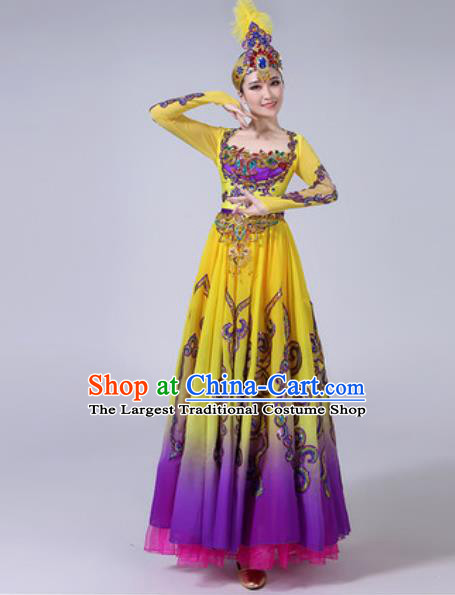 Chinese Ethnic Costumes Traditional Mongolian Nationality Folk Dance Pleated Dress for Women