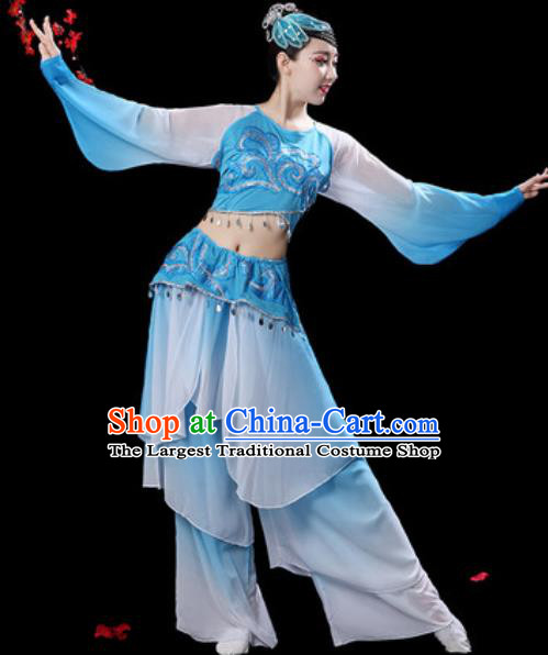 Chinese Classical Dance Umbrella Dance Blue Dress Traditional Fan Dance Costumes for Women