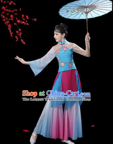 Chinese Classical Dance Blue Dress Traditional Umbrella Dance Fan Dance Costumes for Women