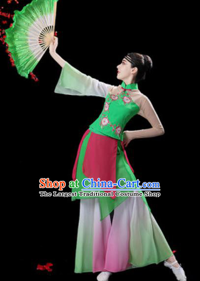 Chinese Classical Dance Green Dress Traditional Umbrella Dance Fan Dance Costumes for Women
