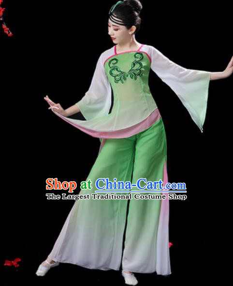 Traditional Chinese Folk Dance Green Costumes Fan Dance Yangko Dance Clothing for Women