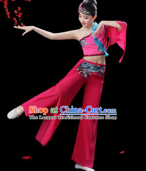 Traditional Chinese Folk Dance Single Sleeve Costumes Fan Dance Yangko Dance Pink Clothing for Women