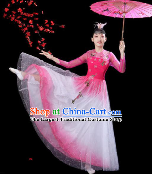 Chinese Classical Dance Pink Veil Dress Traditional Umbrella Dance Fan Dance Costumes for Women