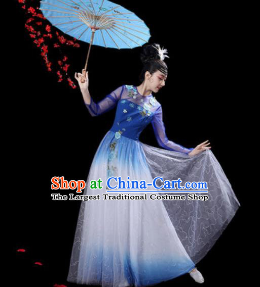Chinese Classical Dance Royalblue Veil Dress Traditional Umbrella Dance Fan Dance Costumes for Women