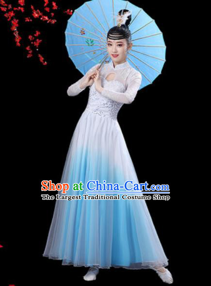Chinese Classical Dance Chorus Blue Dress Traditional Umbrella Dance Fan Dance Costumes for Women