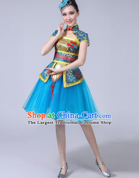 Traditional Chinese Folk Dance Drum Dance Costumes Fan Dance Yangko Dance Blue Dress for Women