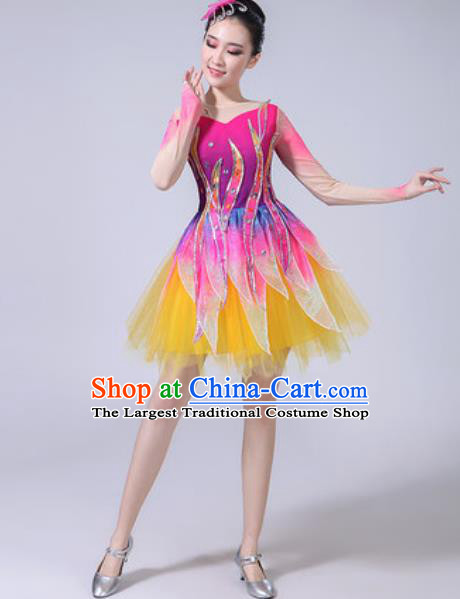 Top Grade Modern Dance Stage Show Costumes Chorus Group Dance Rosy Dress for Women