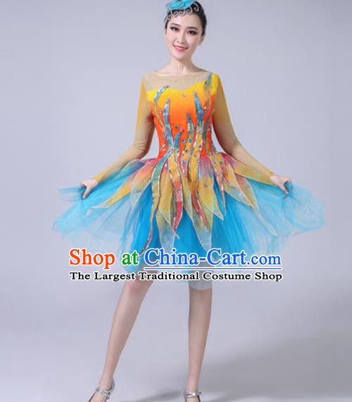 Top Grade Modern Dance Stage Show Costumes Chorus Group Dance Blue Veil Dress for Women