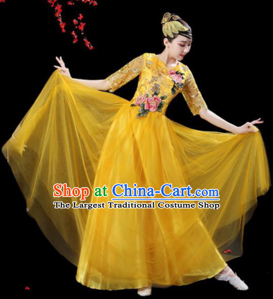 Professional Modern Dance Stage Show Costumes Chorus Group Dance Yellow Dress for Women