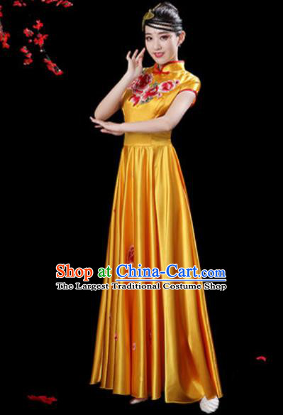Chinese Classical Dance Chorus Yellow Silk Embroidered Dress Traditional Umbrella Dance Fan Dance Costumes for Women