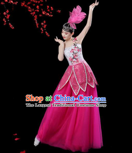 Chinese Classical Dance Rosy Veil Dress Traditional Chorus Group Dance Umbrella Dance Costumes for Women