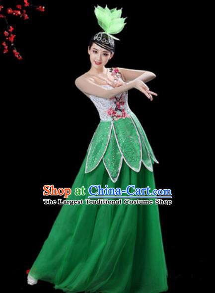 Chinese Classical Dance Green Veil Dress Traditional Chorus Group Dance Umbrella Dance Costumes for Women