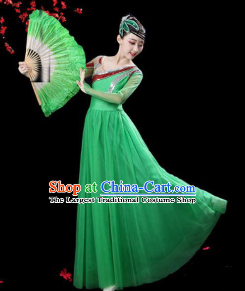 Professional Modern Dance Costumes Stage Show Chorus Group Dance Green Dress for Women