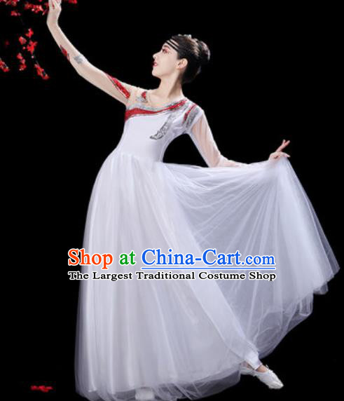Professional Modern Dance Costumes Stage Show Chorus Group Dance White Dress for Women