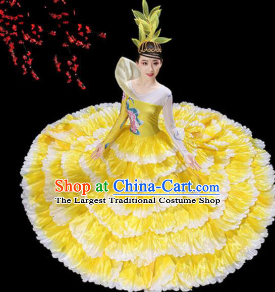 Top Grade Stage Show Group Dance Costumes Modern Dance Chorus Yellow Peony Dress for Women