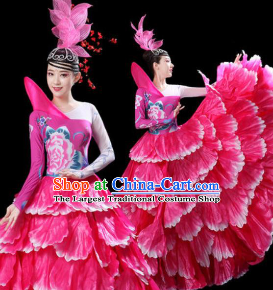 Top Grade Stage Show Group Dance Costumes Modern Dance Chorus Rosy Peony Dress for Women