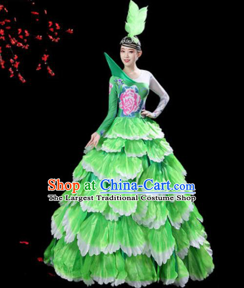 Top Grade Stage Show Group Dance Costumes Modern Dance Chorus Green Peony Dress for Women