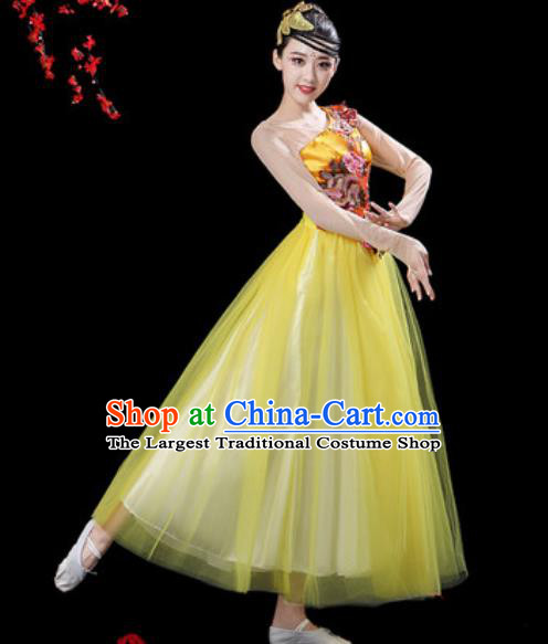 Top Grade Chorus Stage Show Group Dance Costumes Modern Dance Yellow Veil Dress for Women