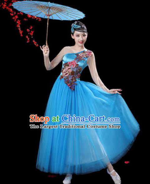 Top Grade Chorus Stage Show Group Dance Costumes Modern Dance Blue Veil Dress for Women