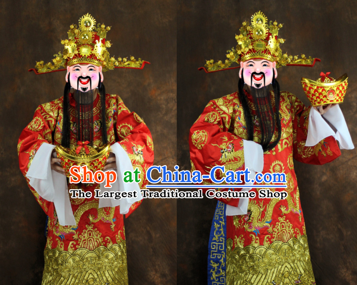 Chinese New Year Spring Festival Cai Shen Costumes and Hat Complete Set
