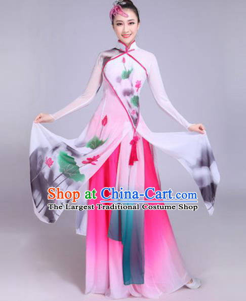 Chinese Classical Dance Printing Lotus Costumes Traditional Group Dance Umbrella Dance Dress for Women